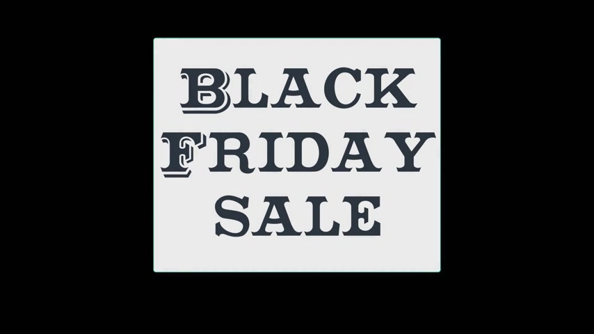 BLACK FRIDAY video banner with the word BLACK FRIDAY on black background. Motion sticker video.