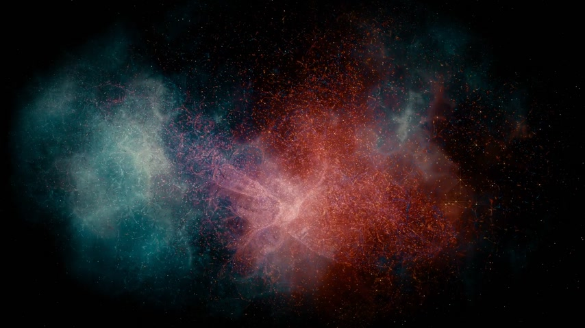 particle system : Animation of flying through glowing nebulae and stars. 3d rendering