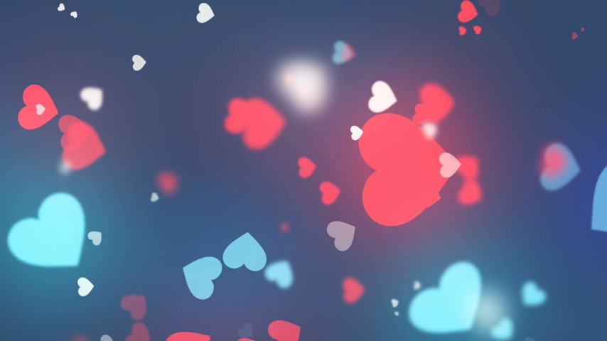 amour : Abstract animation of hearts shapes. Valentines day motion background design with bokeh effect. 3d rendering