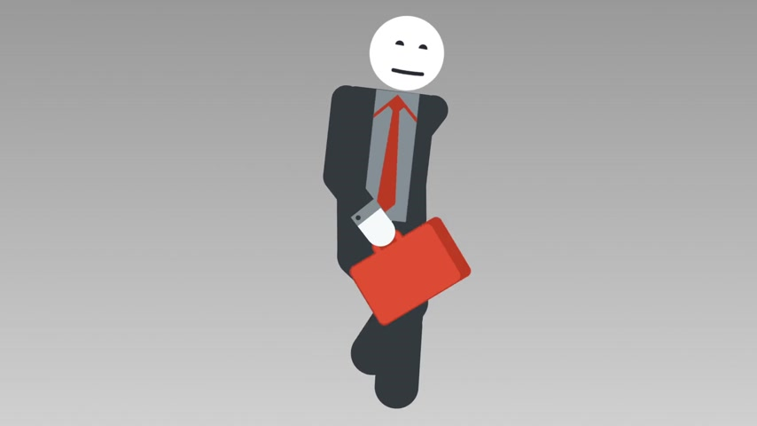 pictograma : 2d character walk cycle, seamless looped animation. Businessman stick figure quickly walk with bag. Alpha Matte. Full HD