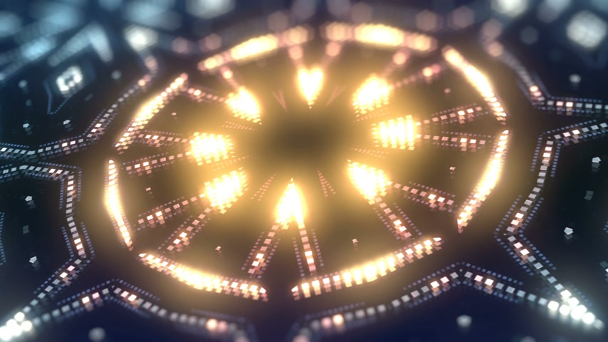 nagy felbontású : Animation of color led particles shapes. Abstract kaleidoscopic VJ motion background. 3d rendering. 4K, UHD resolution