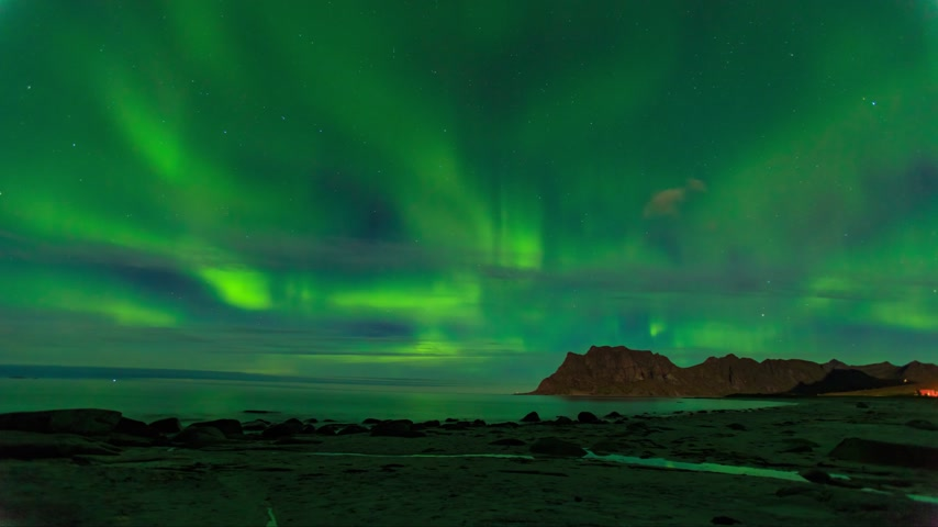 light : Aurora over the sea at Utakleiv beach, Lofoten Islands, Norway