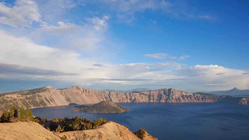 национальный парк : Sunrise at the Crater lake, timelapse, Oregon