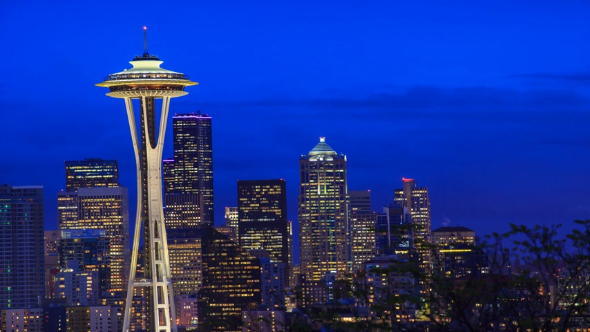 tű : A timelapse with Seattle downtown and Space Needle  view Stock mozgókép