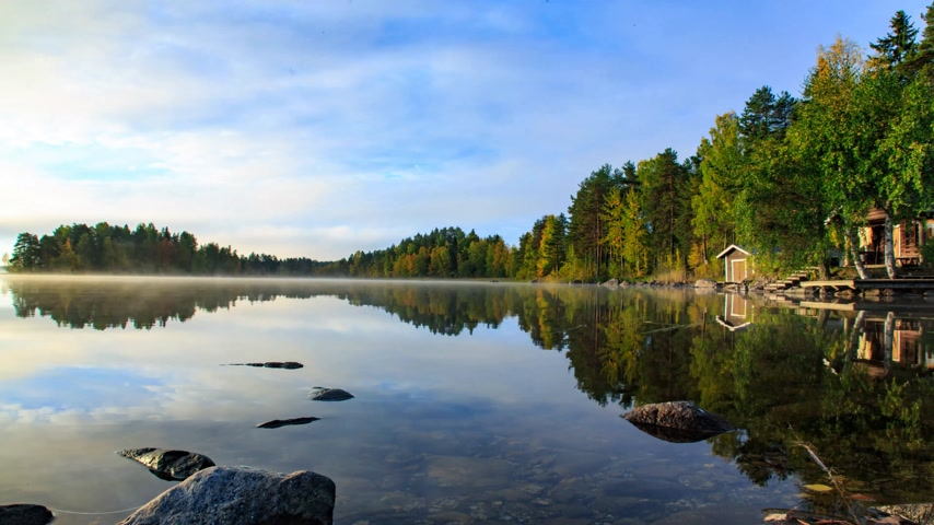 finlandês : Sunrise at quite and beautiful lake, Finland Stock Footage