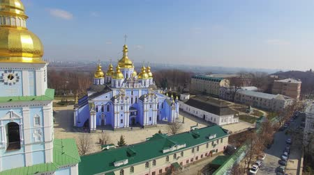 kijev : Aerial view of St. Michaels Monastery - one of the oldest monasteries in Kiev. It is assumed that Michaels Cathedral was the first temple with a gilded top, where Russ went on this kind of a tradition. Kiev, Ukraine