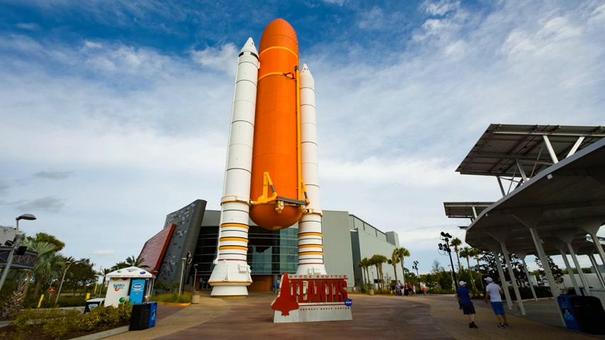 mekik : Cape Canaveral, Florida, USA - JAN, 2017: Entrance to the NASA Space Shuttle Atlantis Exhibit at Kennedy Space Center Visitor Complex. United States
