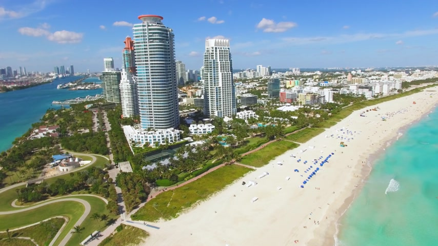 sud america : riprese aeree di Miami South Beach e Miami porto Filmati Stock