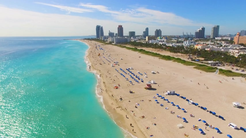 beach panorama : Aerial footage of Miami South Beach
