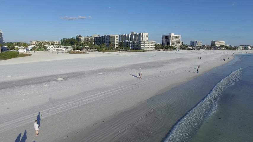 szieszta : Aerial view of the Siesta Key beach with the most white and clean sand, Florida.