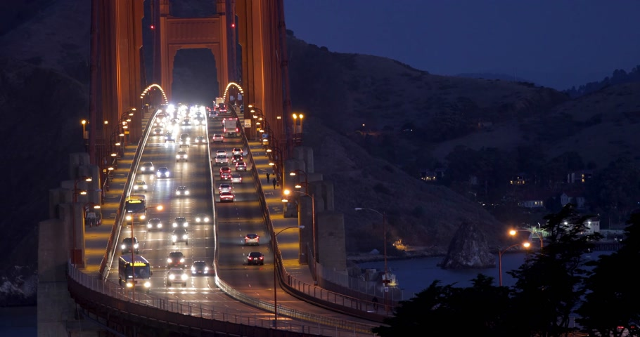 Heavy traffic in the morning on Golden Gate Bridge, connecting San Francisco to Marin County