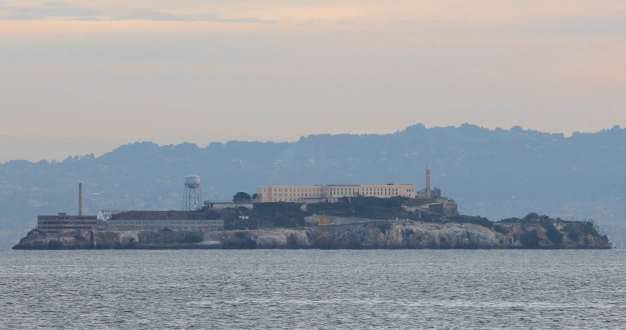 Alcatraz Island at San Francisco bay before sunrise