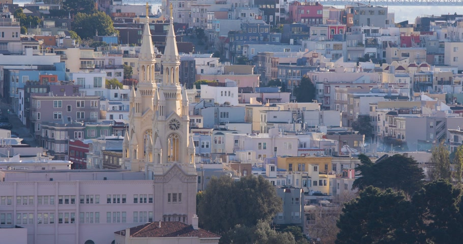Close-up view on hilly streets in San Francisco in the morning