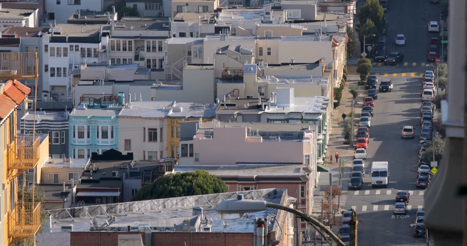 Close view on hilly streets in San Francisco