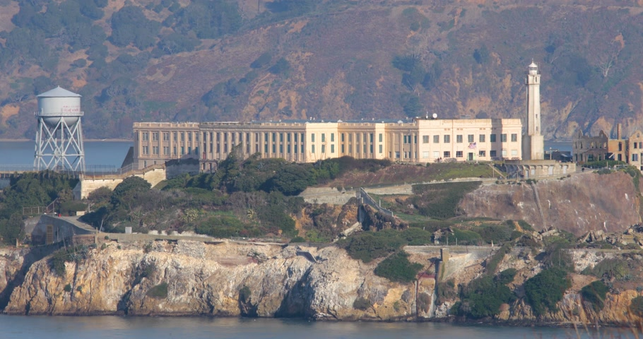 Close-up view on Alcatraz prison island in San Fancisco Bay California USA Filmati Stock