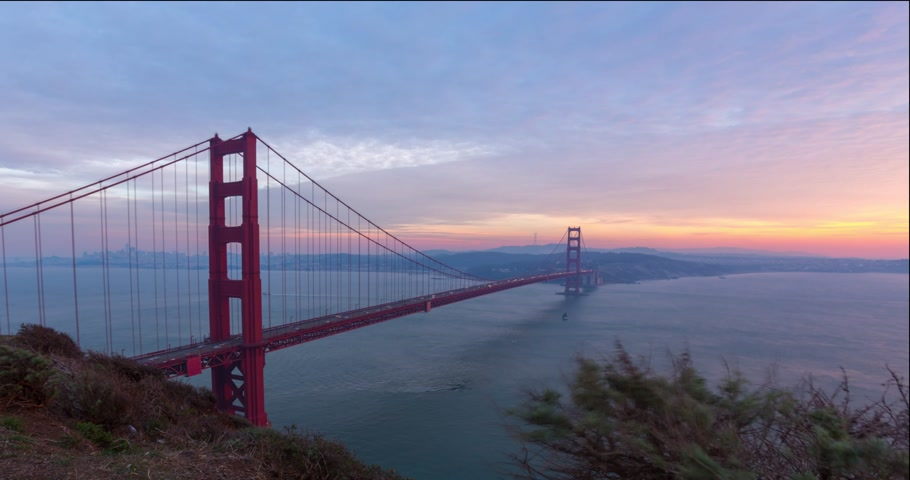 The Golden Gate bridge timelapse on sunset, San Fransisco Стоковые видеозаписи