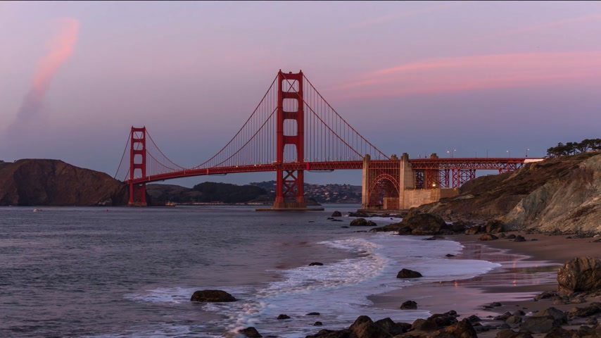 The Golden Gate bridge timelapse on sunset, San Fransisco Stok Video