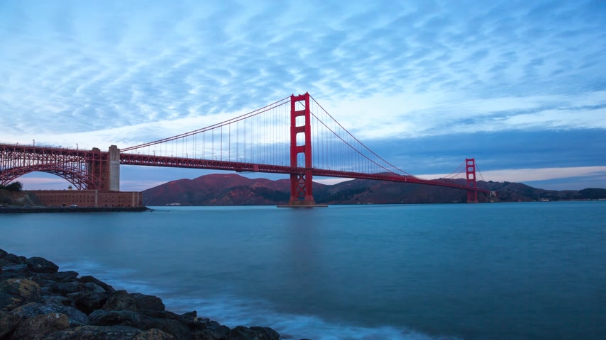 The Golden Gate bridge timelapse on sunrise, San Fransisco