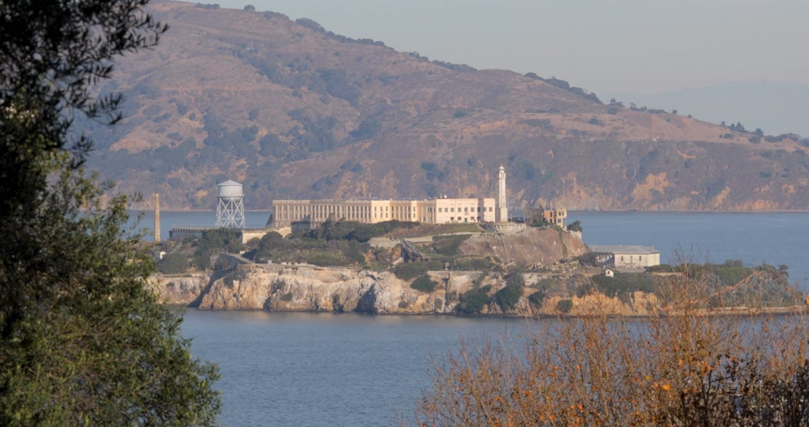 Close-up view on Alcatraz prison island in San Fancisco Bay California USA Стоковые видеозаписи