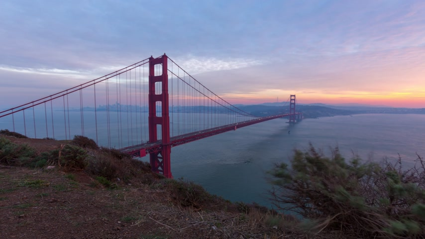 gates : The Golden Gate bridge timelapse on sunset, San Fransisco Stock Footage