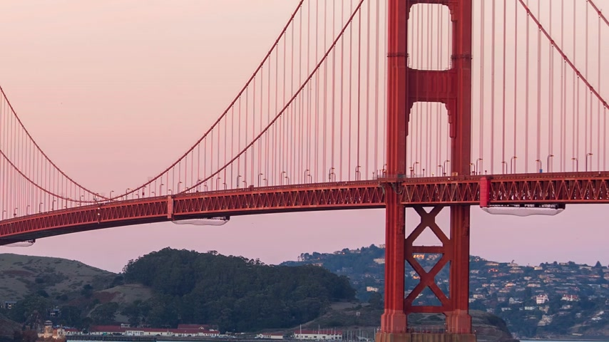 Golden bridge at sunset, San Francisco Stok Video