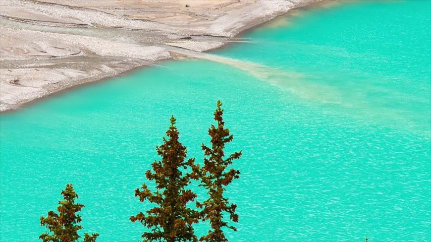 runoff water : Peyto Glacier meltwater flows into Peyto Lake in Banff National Park, Canada