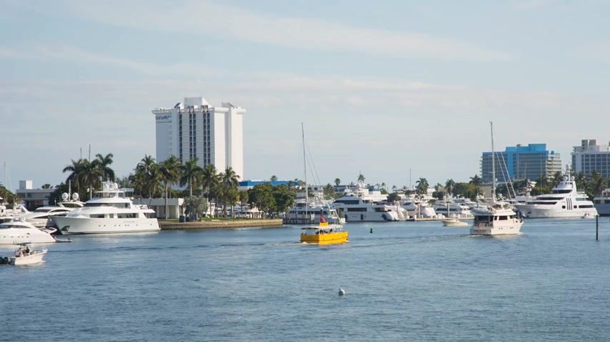 Boats floating on the New river, Fort Lauderdale