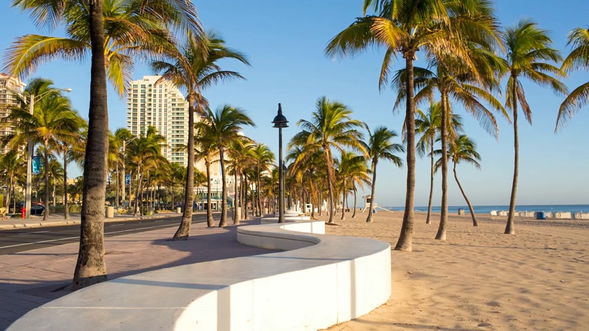 Fort Lauderdale beach on sunrise.