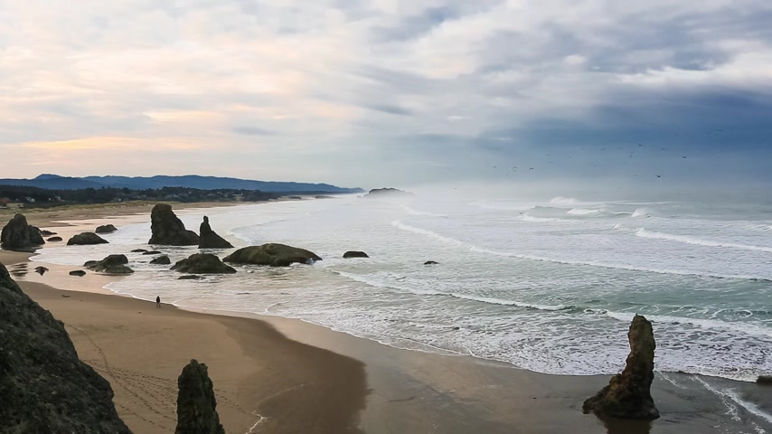 Орегон : surf on the Pacific Coast, Bandon, Oregon