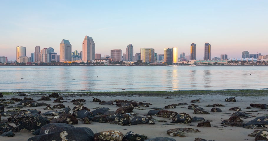 San Diego downtown sunset timelapse, California