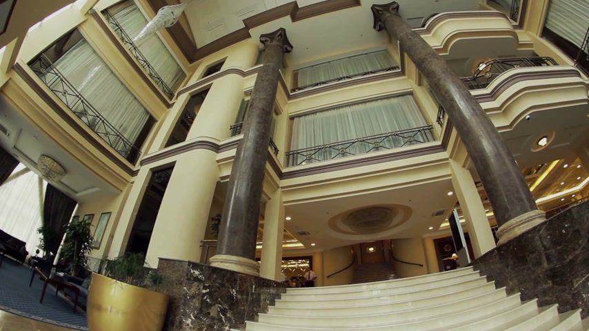 lobi : Columns in Hotel Stok Video