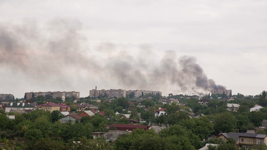 imha : City on Fire after the Artillery Strike in Donetsk