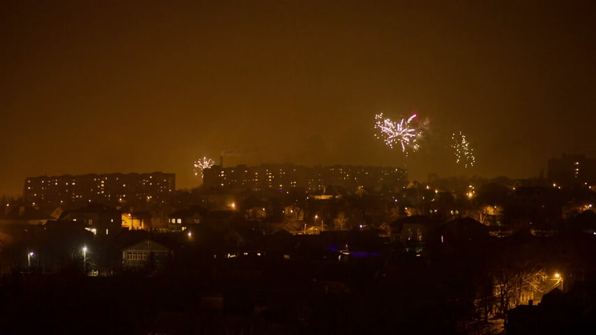 salvo : Fireworks Above the City Stock Footage