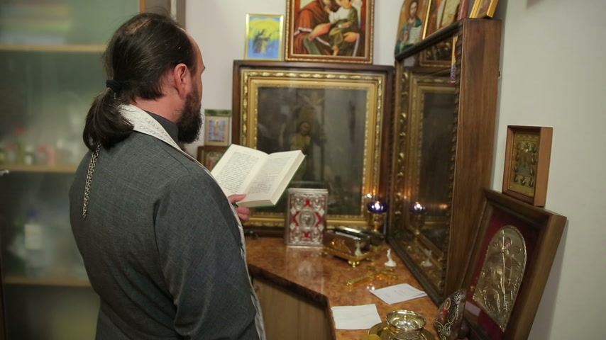 clerical : Orthodox Priest Reads The Gospel