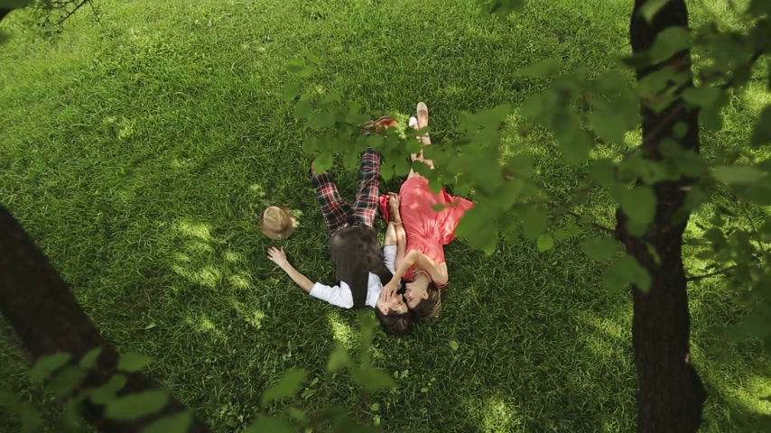 apaixonado : Couple in Love Lies Under the Tree Stock Footage
