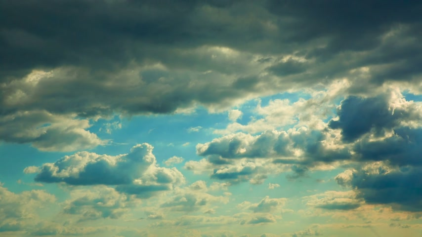 puffy clouds : Spring Clouds Time lapse Stock Footage