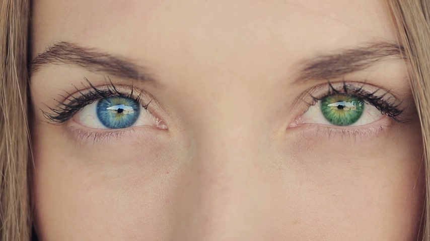 генетика : Beautiful woman with different color of eyes Стоковые видеозаписи