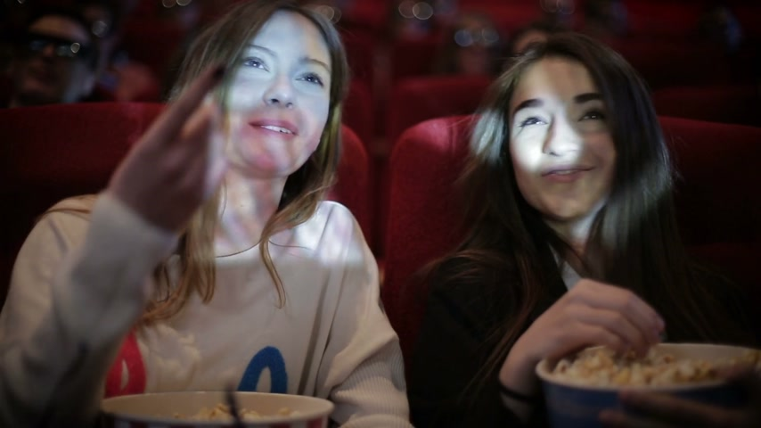 kino : two friends watching movie in cinema