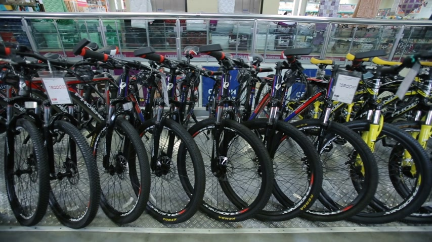 choise : Mountain bikes in sports shop