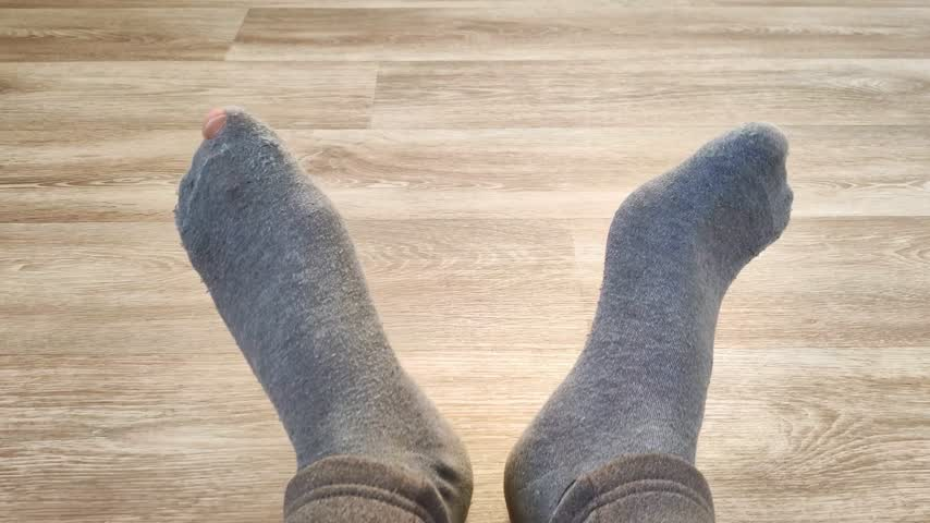 jó hangulatban : Female feet in gray worn socks move fingers on floor. Holey sock. Movement to beat of music, good mood. Close-up. Shooting on bright day Stock mozgókép