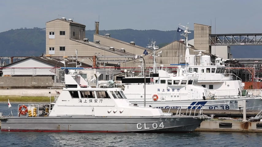 security agencies : KAGAWA JAPANJUNE 01: Japanese police high speed patrol boat. Japan coast guard. SakaideHarbor Kagawa Japan on Jun 01 2015.