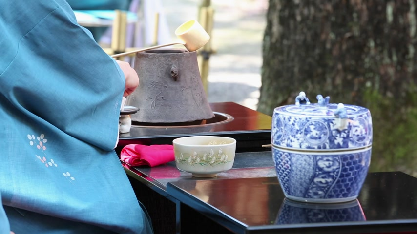 Японская культура : Japanese woman in traditional kimono prepares the tea ceremony at garden of the Hagiwara Temple Стоковые видеозаписи