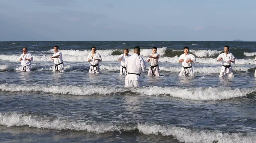sztuki walki : KAGAWA, JAPAN-JANUARY 3, 2018,: Japanese karate martial arts training of karate in midwinter of a new year at Ichinomiya Beach, Kagawa, Japan Wideo