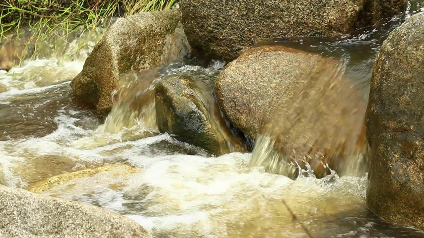 neobdělávaný : Close up of mountain stream, freshness and clean environment water flow stream in nature