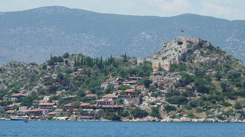 settlement : Ancient village of Simena, near Kekova island. Antalya province, Turkey. Shooting from moving yacht.