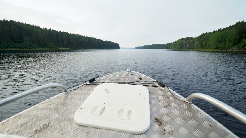 motorbot : Kenozero lake and Islands. Shooting from a moving motor boat. Kenozerskiy national park, Russia.