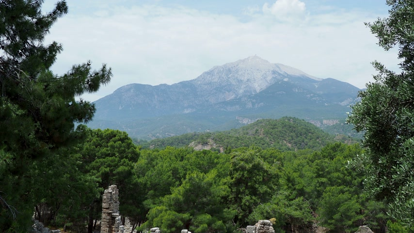 phaselis : View of mount Tahtali from the ruins of the ancient city Phaselis. Antalya province, Turkey. Stock Footage