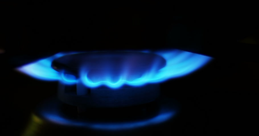 gas stove : Blue flames of a gas in gas cooker. Fire on stove in dark.