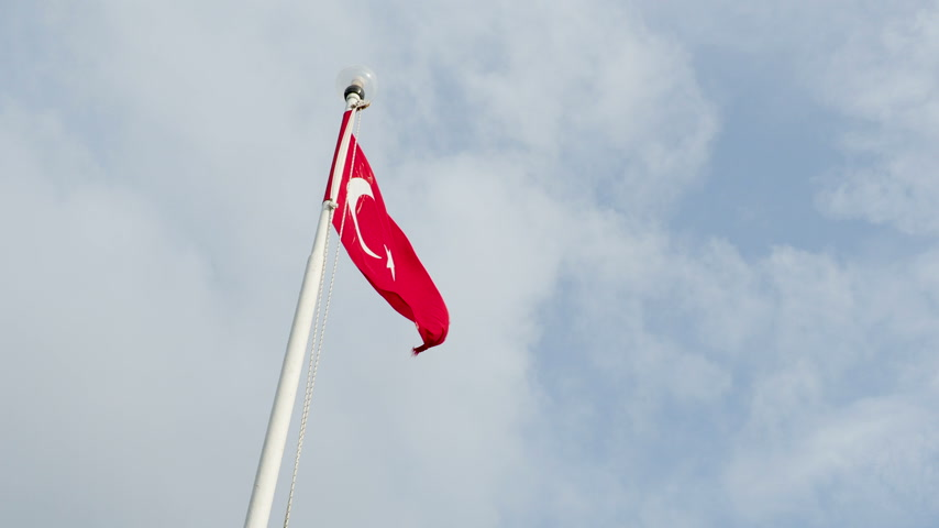 ensign : Flag of Turkey waving in the wind on outdoor lantern. Turkey. Stock Footage