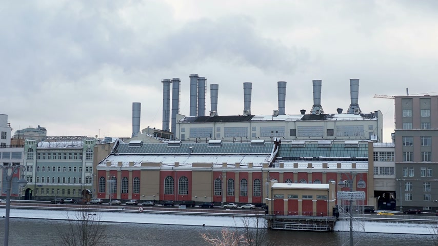 "géiser : State power station â""– 1 named after P. G. Smidovich is the oldest operating thermal power plant in Russia. Located on the Raushskaya embankment in Moscow, Stock Footage"